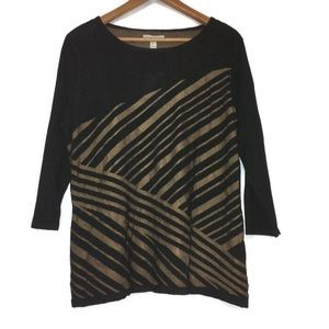 Dana Buchman 3/4 Sleeve Stripe Sweater